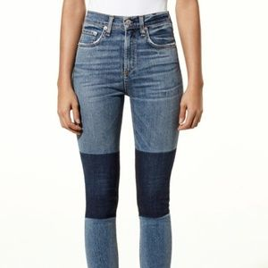 Rag and Bone shadow patch jeans high rise 31